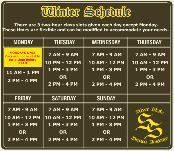 Winter Schedule 2014